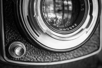 Closeup of apart of old film cameras with free copy space, vinta