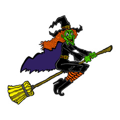 Witch riding a broom cartoon vector illustration