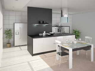 Modern design cozy spacious kitchen.