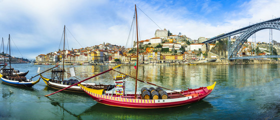 panorama of beautiful Porto with traditional boats. Portugal