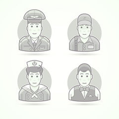 Pilot, delivery man, shipboy, waiter icons. Character, avatar and person illustrations. Flat black and white outlined style.