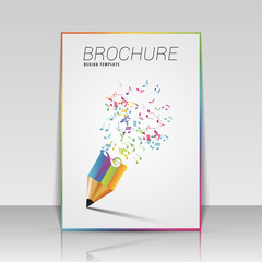 Music brochure template with pencil. Vector illustration