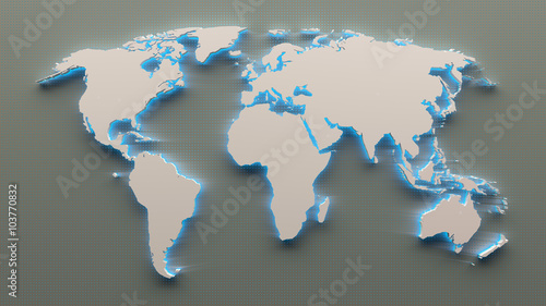 3d world map with metal mesh titanium and blue led light
