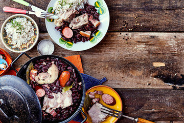 Brazilian Bean and Meat Dish on Wooded Table