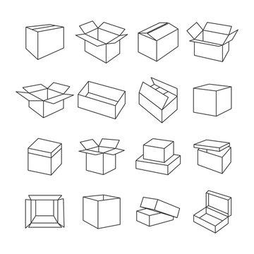 Icons box, vector illustration.