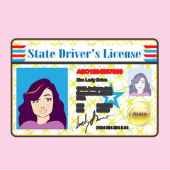Driver's License Woman photo ID vector