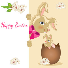 Greeting Card with Rabbit and Easter Egg