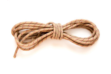 static rope for mountaineering, isolated on white. Top view. Cli