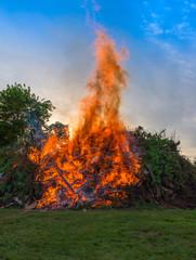 Bonfire at a camp in natural surroundings