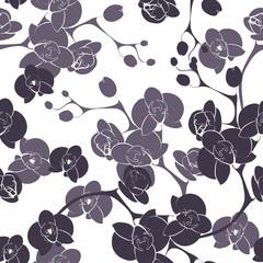 Foto auf Leinwand Blumen weiß - schwarz Flower orchid decoration design seamless texture pattern