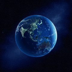 Earth with city lights at night