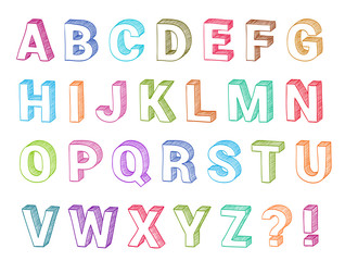 Alphabet set 3d form hand drawn vector. Sketch font