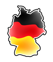 Germany map vector symbol icon  design. german flag colors illustration isolated on white background.