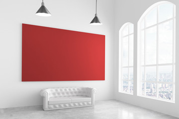 Big red poster in modern light room with white sofa and big wind