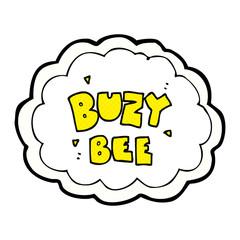 cartoon buzy bee text symbol