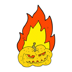 comic book style cartoon flaming halloween pumpkin