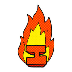 comic book style cartoon flaming letter I