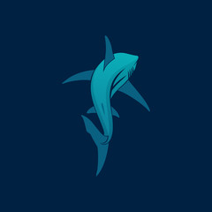 Shark sailing far away logo sign on dark blue background vector