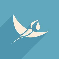 stork and baby logo sign blue background  vector illustration