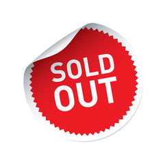 Red vector sticker and text SOLD OUT
