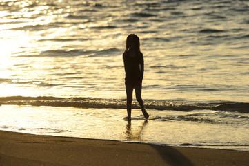 Beach Girl Silhouette