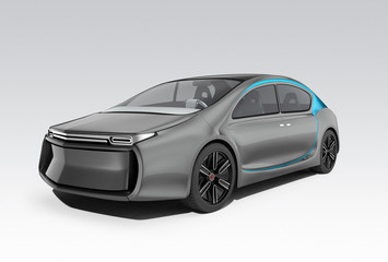 Exterior of autonomous electric car isolated on gray background. Clipping path available. Original design.