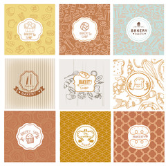 Set of vector bakery logos. Bread and pastries labels, badges and design elements