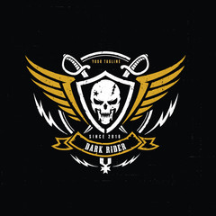 Dark victory,skull logo,tattoo,vector logo template