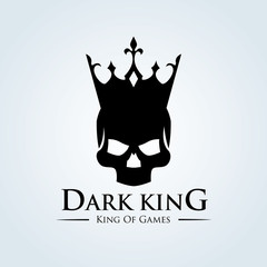 Dark king, Skull vector logo template