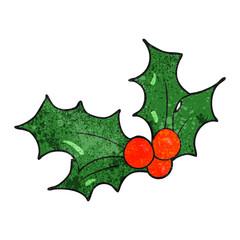 textured cartoon christmas holly