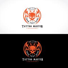 Tattoo logo,skull logo,vector logo template