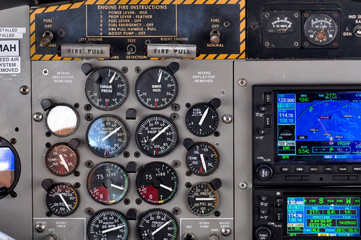 Seaplane control panel with many gauges