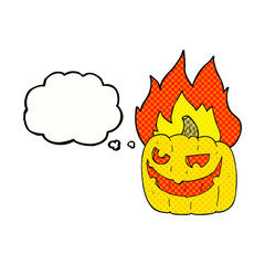 thought bubble cartoon flaming halloween pumpkin