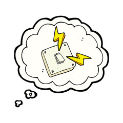 thought bubble cartoon sparking electric light switch