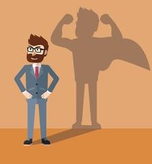 Business hero as shadow