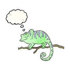 thought bubble textured cartoon chameleon