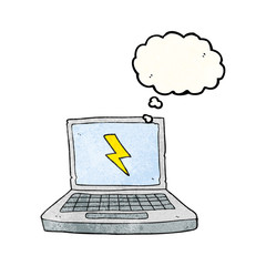 thought bubble textured cartoon laptop computer