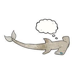 thought bubble textured cartoon hammerhead shark