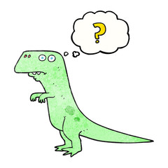 thought bubble textured cartoon confused dinosaur
