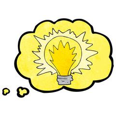 thought bubble textured cartoon light bulb