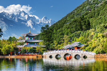 Printed kitchen splashbacks China Beautiful view of the Jade Dragon Snow Mountain, Lijiang, China