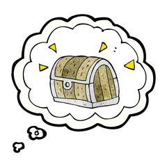 thought bubble textured cartoon treasure chest
