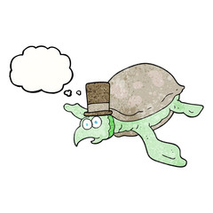 thought bubble textured cartoon turtle