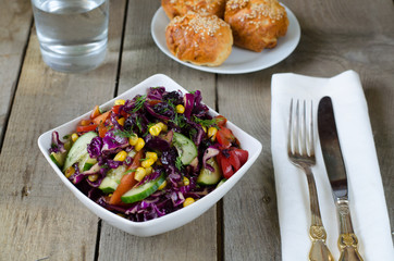 salad of red cabbage with vegetables