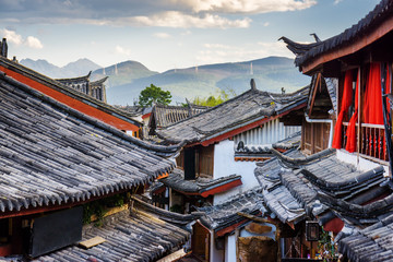 Scenic view of traditional Chinese tile roofs of houses, Lijiang