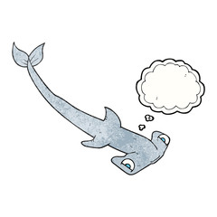 thought bubble textured cartoon hammerhead shark