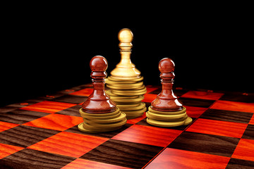 3d Chess on a board on a white background