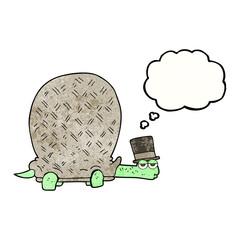 thought bubble textured cartoon tortoise
