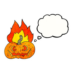 thought bubble textured cartoon flaming halloween pumpkin