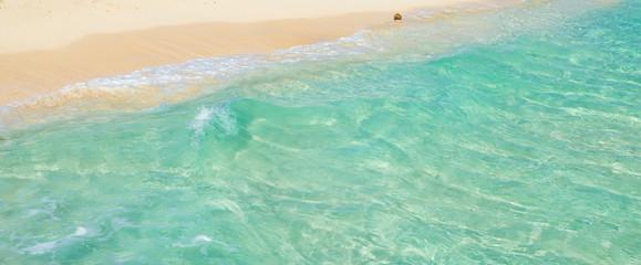 Soft wave of the tropical sea on the sandy beach. Caribbean Sea